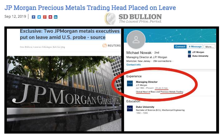 JPMorgan silver manipulation confirmation continuation SD Bullion