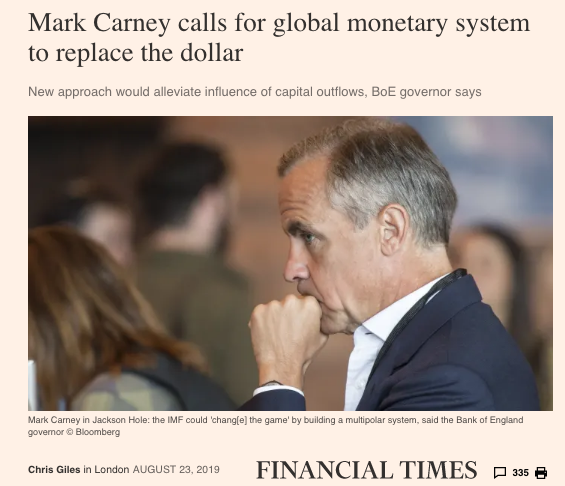 Reserve Currency History Exorbitant Privilege US dollar Mark Carney SD Bullion