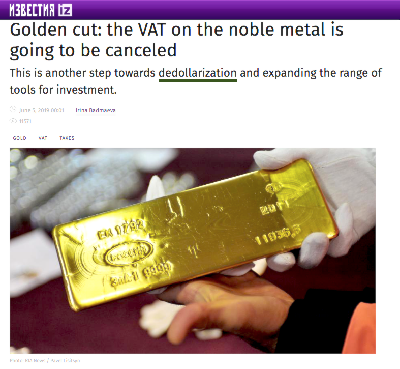 Russia gold tax cancellation 2020s
