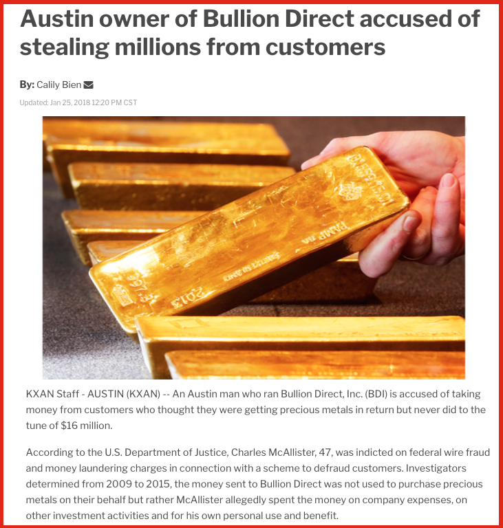 Owner of Bullion Depository Accused of Stealing Millions