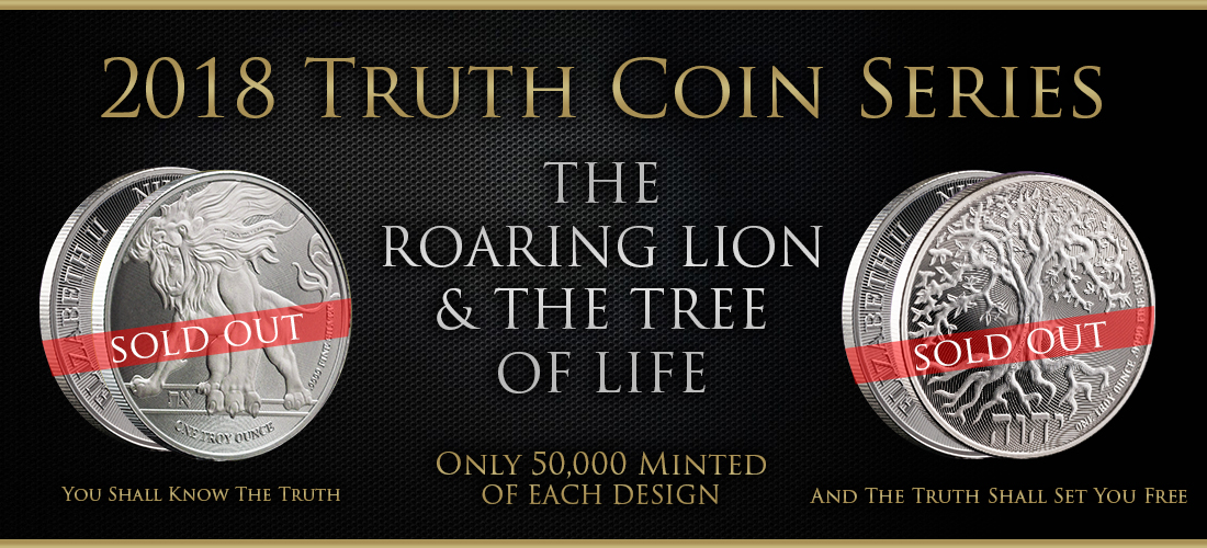 2019 Truth Coin Series   2019 Roaring Lion & Tree of Life Silver Coins